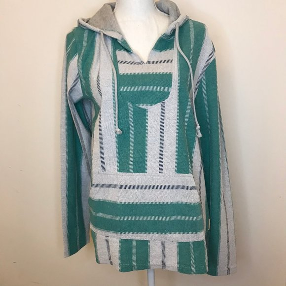 NWT Brooklyn Cloth Green & Gray Hooded Sweater Sma